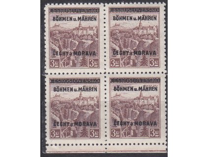 3Kč Český ráj, dolní kraj. 4blok - úzký okraj, Nr.16, **, jedna zn. dv