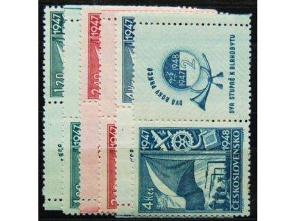 1947, 1.20-4Kčs Dvouletý hospodářský plán, Nr.447-49, KL+KP, **