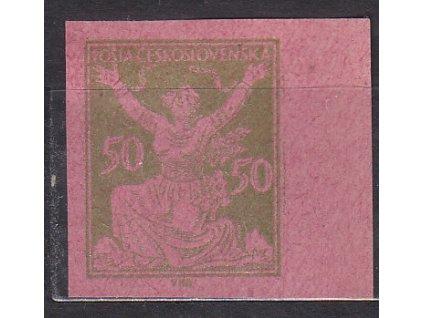 50h zelená, nezoubk. ZT na růžovém papíru, kraj. kus, Nr.156, bez lepu