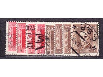 1925, 1-3Kč III.typ, pr.5-8, kompletní, Nr.197-8, razítkované