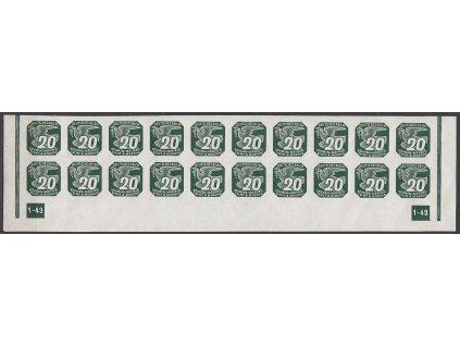 1943, 20h zelená, 20pás s DČ1-43 - nepřerušený okraj, Nr.NV16, **