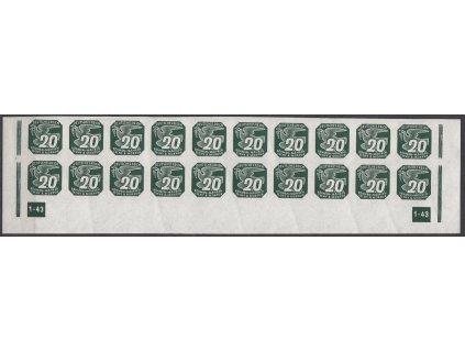 1943, 20h zelená, 20pás s DČ1-43 - přerušený rám, Nr.NV16, **