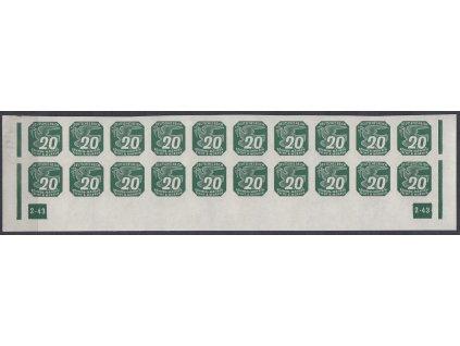 1943, 20h zelená, 20pás s DČ2-43 - přerušený rám, Nr.NV16, **