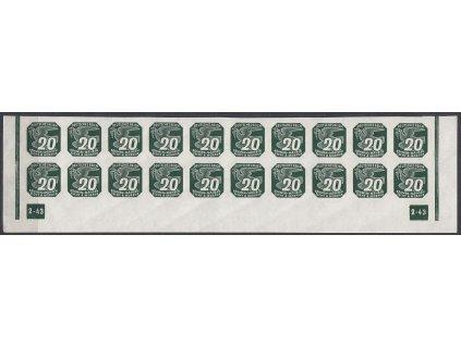 1943, 20h zelená, 20pás s DČ2-43 - nepřerušený rám, Nr.NV16, **