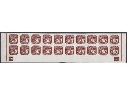 1943, 50h hnědá, 20pás s DČ 1-43 - nepřerušený rám, Nr.NV17, **
