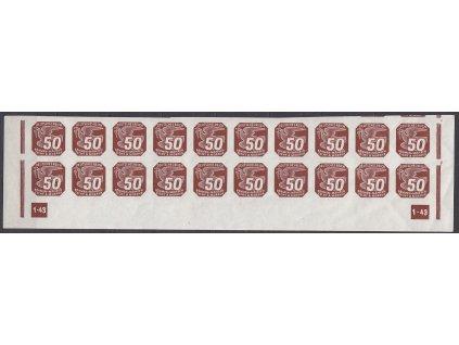 1943, 50h hnědá, 20pás s DČ 1-43 - přerušený rám, Nr.NV17, **