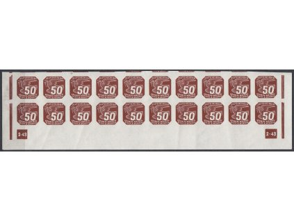 1943, 50h hnědá, 20pás s DČ 2-43 - přerušený rám, Nr.NV17, **