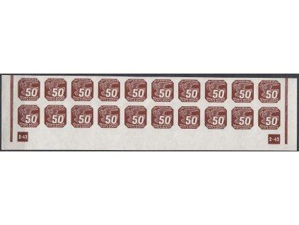 1943, 50h hnědá, 20pás s DČ 2-43 - nepřerušený rám, Nr.NV17, **