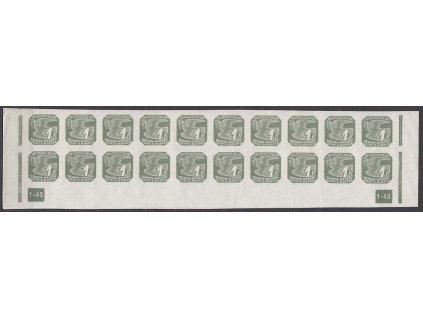 1943, 1K šedá, 20pás s DČ 1-43 - přerušený rám, Nr.NV18, **