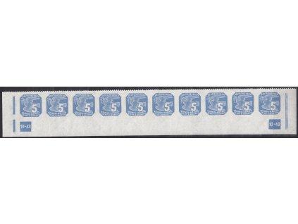 1943, 5h modrá, pás s DČ 10-43 a pouze s horní perforací, Nr.NV11, **