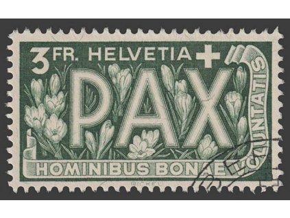 1945, 3 Fr PAX, MiNr.457, razítkované