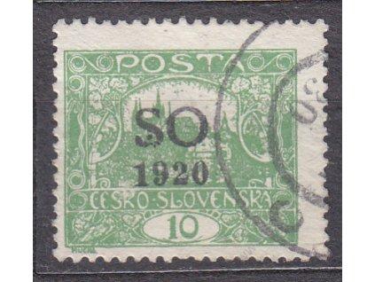10h zelená, Hz.11 3/4, Nr.SO4C, razítkované
