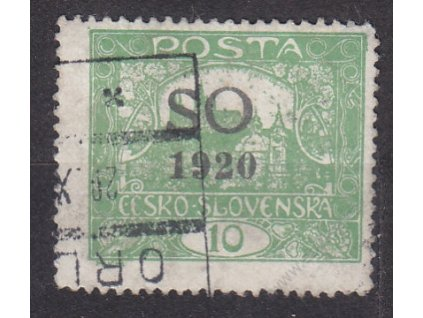 10h zelená, Řz.13 3/4, rámečkový typ, Nr.SO4B, razítkované, horší jakost
