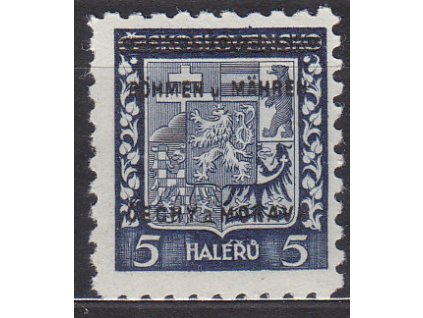 1939, 5h Znak, DV - bez tečky za U, zk.Karásek, Nr.1, **
