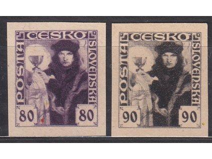 80-90h série, nezoubkované, nahnědlý papír, Nr.162-3, bez lepu