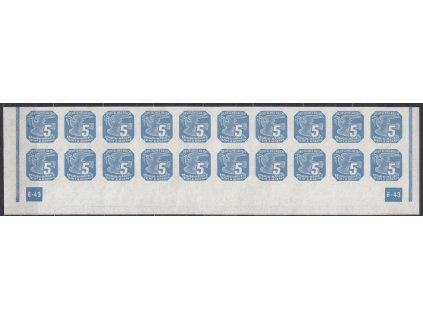 1943, 5h modrá, 20pás s DČ 6-43 - rám nepřerušen, chybotisk - DČ vypadá jako 8 místo 6, Nr.NV11, **