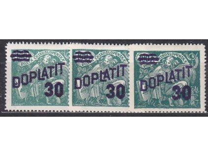 30/100h zelená, 3 ks, každá zn. tečky u přetisku, Nr.DL42, * po nálepce