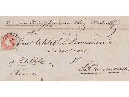 1863, DR Buchau, skládaný dopis vyfr. zn. 5Kr Franc Josef