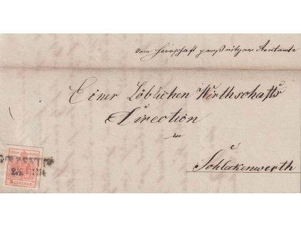 1856, DR Gitschin, skládaný dopis vyfr. zn. 3Kr Znak,