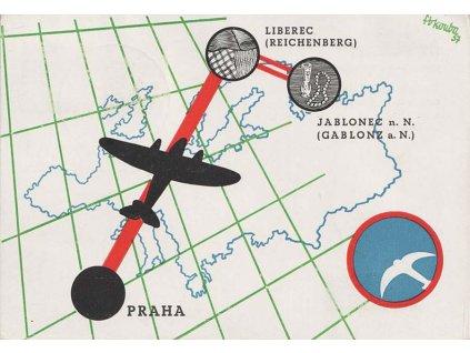 1937, I.let Praha-Liberec, pamětní karta, prošlé