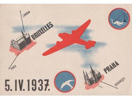 1937, I.let Praha-Bruxelles, pamětní karta, prošlé