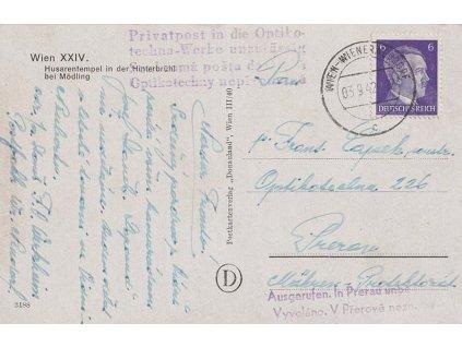 1942, pohlednice zaslaná z Vídně do Přerova, zde vyvoláno,