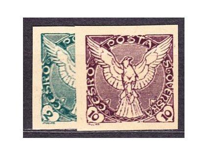 1918, 2 a 10h, 2 ks ZT na nahnědlém papíru, Nr.NV1,4, bez lepu