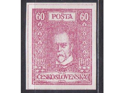 80h TGM, nerealizovaný růžový návrh na čs. zn. na známkovém papíru s lepem, * po nálepce