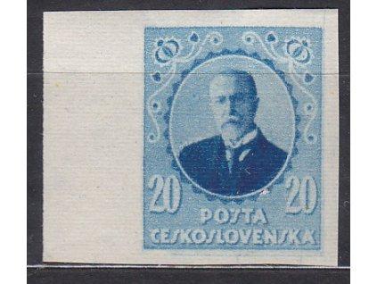Nerealizovaný návrh na čs. zn. 20h Masaryk v barvě modré na známkovém papíru s lepem, tiskárna HAASE, kraj. kus, * po nálepce
