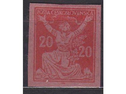 20h červená, ZT na růžovém papíru, Nr.151,bez lepu, dv