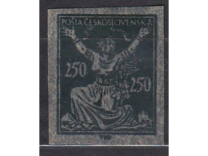250h zelená, nezoubk. ZT na silnějším papíru, olejový tisk, Nr.261, bez lepu