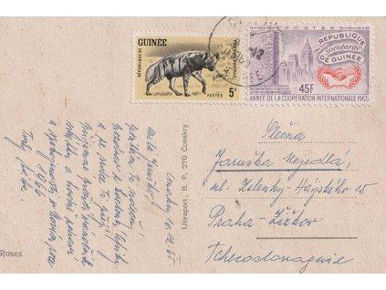 Guinea, 1965, DR Conakry, let. pohlednice zaslaná do ČSSR, dv
