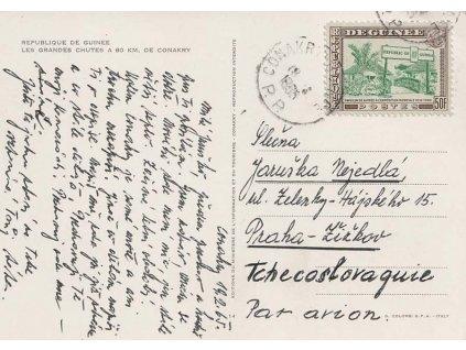 Guinea, 1965, DR Conakry, let. pohlednice zaslaná do ČSSR,