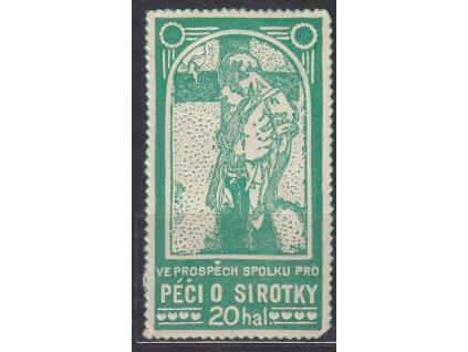 Mucha, 20h Péče o sirotky, zelená barva, cca 1920, **