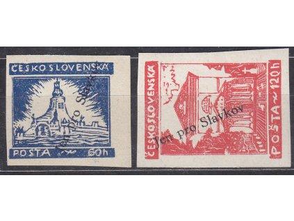 2 ks revolučních zn. 60-120h s přetiskem JEN PRO SLAVKOV, **, ilustrační foto