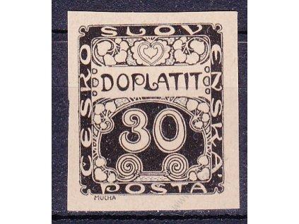 30h černá, ZT na nahnědlém papíru, Nr.DL6, bez lepu