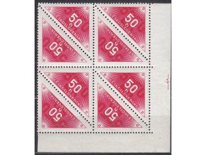 50h Doruční červená, roh. 8blok s křížkem na okraji, Nr.DR2, **