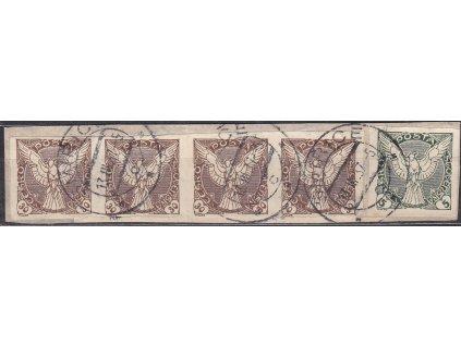 Výstřižek vyfr. mj. 4páskou zn. 30h hnědá, levá zn. II.typ, Nr.NV6ST, razítkované