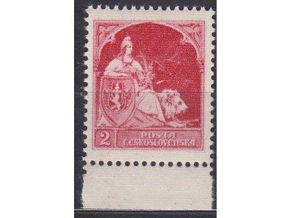 Nerealizovaný návrh na čs. zn. 2h české symboly v barvě červené na známkovém papíru s lepem, tiskárna HAASE, kraj. kus, **