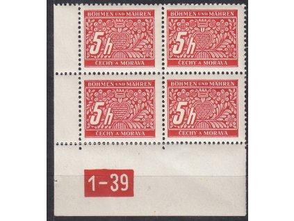 5h červená, levý roh. 4blok s DČ 1-39, varianta X, Nr.DL1, **