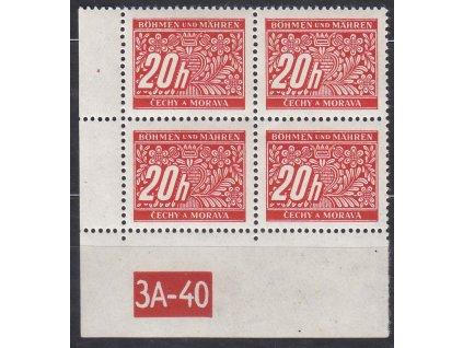 20h červená, levý roh. 4blok s DČ 3A-40, varianta X, Nr.DL3, **