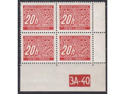20h červená, pravý roh. 4blok s DČ 3A-40, varianta X, Nr.DL3, **