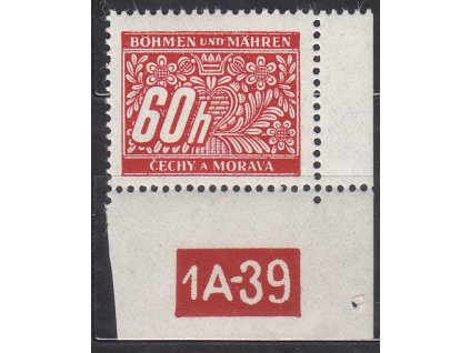 60h červená, pravý roh. kus s DČ 1A-39, varianta X, Nr.DL7, **, dv