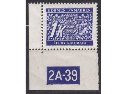 1K modrá, levý roh. kus s DČ 2A-39, varianta X, Nr.DL9, * po nálepce