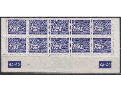1.20K modrá, spodní 10blok s DČ 4A-40, var-X-Y, Nr.DL10, **