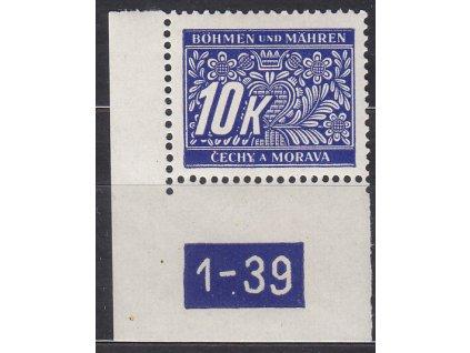 10K modrá, levý roh. kus s DČ 1-39, var. Y, Nr.DL13, **