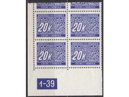 20K modrá, levý roh. 4blok s DČ1-39, varianta Y, horní okraj, Nr.DL14, **