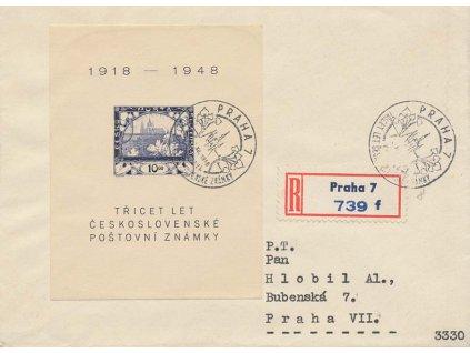 1948, FDC A 497 aršík Výročí známky, neohlášené FDC, R-dopis