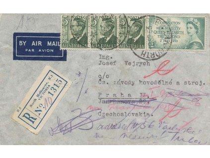 Austrálie, 1953, DR North. Melbourne, R-let dopis zaslaný do ČSR