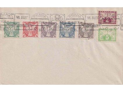 1920, Praha, VII. Slet všesokolský, obálka, neprošlé, omačkání